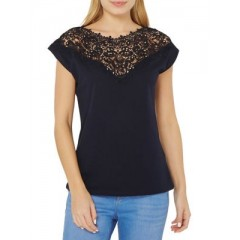 Dorothy Perkins - Embellished Lace-Yoke Tee Women's T-Shirts Short Sleeve Online Discount KgcR4PL07uvoe1