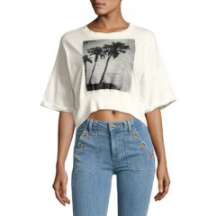 Free People - Graphic Cropped Cotton Top Women's T-Shirts Short Sleeve K0BM2hFgiFPFhv