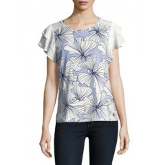 Ivanka Trump - Floral Ruffle-Sleeve Top Women's T-Shirts Short Sleeve Discount Sales JKCpHnbaW8mPYw