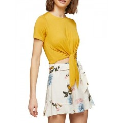 Miss Selfridge - Tie-Front Cropped Top Women's T-Shirts Short Sleeve qUVEJuqpNjQDbn