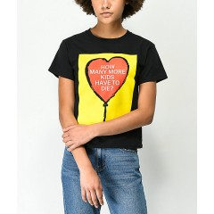 Obey Stop The Violence How Many More Black Shrunken T-Shirt Women's Short Sleeve U3Ufdynez3N6Wl
