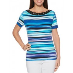 Rafaella - Stripe Cotton Tee Women's T-Shirts Short Sleeve OQFFKeu1HQzoSA