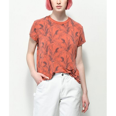 RVCA Suspension Palm Tree Red Clay T-Shirt Women's Short Sleeve 9fX0bV8oayxIGc