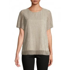 Vero Moda - Metallic Overlay Top Women's T-Shirts Short Sleeve Online Wholesale OvmJdkIMxZ9P1Z