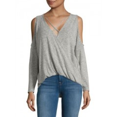 Design Lab Lord & Taylor - Knit Surplice Top Women's T-Shirts Long Sleeve ilRjmykwGXjB2Z