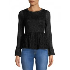 Design Lab Lord & Taylor - Lace-Embroidered Peplum Top Women's T-Shirts Long Sleeve Cheap Online jUGNVh1DvuHUpp