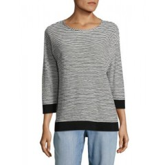 JONES NEW YORK - Striped Roundneck Top Women's T-Shirts Long Sleeve PRWegNKDtrMqvX