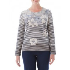 Olsen - Stripe Flower Top Women's T-Shirts Long Sleeve Online Discount LVwsRMJnm50eox