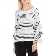 Vince Camuto - Tiered Sleeve Stripe Top Women's T-Shirts Long Sleeve NtBhjN7qJn7yI4