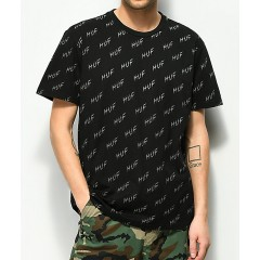 HUF Bolt All Over Black T-Shirt Men's Graphic Tee DleQlB7rGaful5