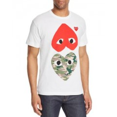 Comme Des Garcons PLAY Camouflage & Red Heart-to-Heart Graphic Tee Men's T-Shirts Short Sleeve NtIBomkITcd3mg