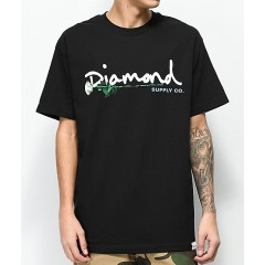 Diamond Supply Co. Floral Gem Script Black T-Shirt Men's Short Sleeve GNDx0a5dN7jfEw