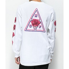 HUF Triple Triangle Rose White Long Sleeve T-Shirt Men's Long Sleeve jZYQhzYoBWnDbv