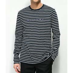 Welcome Scrawl Navy & White Striped Long Sleeve T-Shirt Men's Long Sleeve Online Wholesale lnjQVmre0Wd0sE