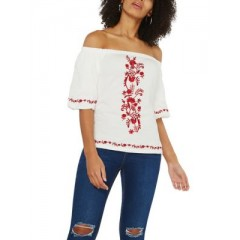 Dorothy Perkins - Embroidered Off-the-Shoulder Top Women's Blouses|||Short Sleeve Cheap Online ilTpQM3fpRzg1l