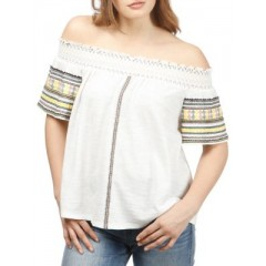 Lucky Brand - Off-The-Shoulder Embroidered Cotton Top Women's Blouses|||Short Sleeve Discount Wholesale Tkk7WgCf50NRxO