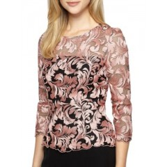 Alex Evenings - Embroidered Illusion Top Women's Blouses 3/4 Sleeve zWrJxksEbx8AKn