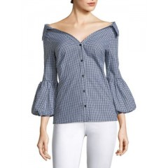 Bailey 44 - Plaid Puff-Sleeve Top Women's Blouses 3/4 Sleeve cITS350uDKzQnN