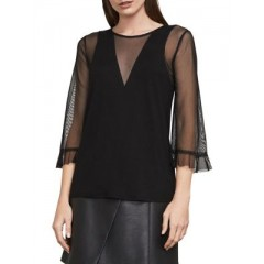 BCBGMAXAZRIA - Ashleigh Mixed-Media Top Women's Blouses 3/4 Sleeve Fashion Online PkisvY9oSxuwMd