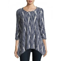 Context - Ruched-Sleeve Textured Blouse Women's Blouses 3/4 Sleeve iCjzE0QBTAhy7R