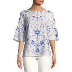 Ivanka Trump - Embroidered Cotton Blouse Women's Blouses 3/4 Sleeve Zs1l0R9X8i2NFv
