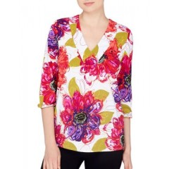 joan vass New York - Floral V-Neck Top Women's Blouses 3/4 Sleeve PrzuJ8RUMKqZq6