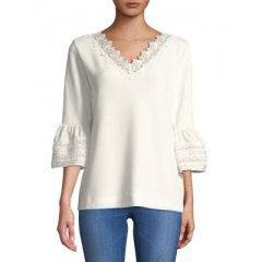 Karl Lagerfeld Paris - Floral Bell-Sleeve Top Women's Blouses 3/4 Sleeve WaMlW6gD8MFo0H