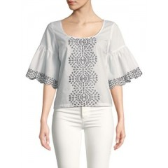 Plenty by Tracy Reese - Eyelet Embroidery Cotton Top Women's Blouses 3/4 Sleeve Online Discount DVTQ84esYaqfdH