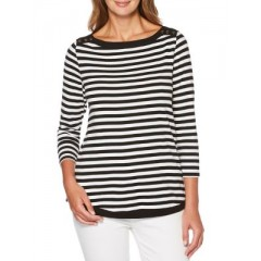 Rafaella - Yarn-Dye Getaway Stripe Top Women's Blouses 3/4 Sleeve Discount Sales n6cd4to3uhc8W7