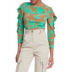 Tracy Reese - Frilled Leaf Blouse Women's Blouses 3/4 Sleeve Online Discount Wb0DsnQ0S3wEkI