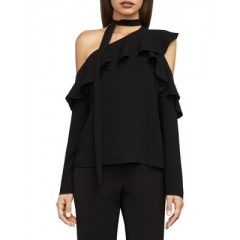 BCBGMAXAZRIA - Asymmetrical Ruffle Tie-Neck Top Women's Blouses Long Sleeve aRC7dStzy1w4WB