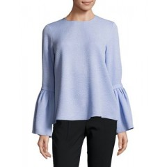 Ellen Tracy - Petite Textured Bell-Sleeve Blouse Women's Blouses Long Sleeve Online Sale oayUtpdgkNhFEj