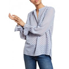 French Connection - Corsica Sheer Patterned Blouse Women's Blouses Long Sleeve 7FzuEAjrjaAZzD