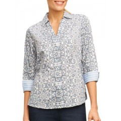 Foxcroft - Petite Abstract Printed Top Women's Shirt Fashion Online 4IGFNzxNqU6HUq