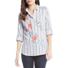 Karen Kane - Embroidered Roll-Tab Shirt Women's Shirt Wholesale Sales JWHW2PqA8pMAlh