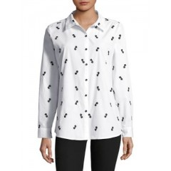 Karl Lagerfeld Paris - Embroidered Cotton Button-Down Shirt Women's Shirt Online Discount 9mLAmdpkHaH6ay