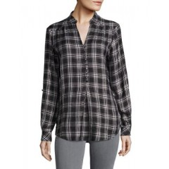 Lord & Taylor - Plaid Split V-Neck Top Women's Shirt Cheap Sales 7SRxOcBvtKhDRf