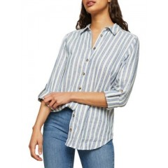 Miss Selfridge - Striped Roll-Tab Sleeve Button-Down Shirt Women's Shirt Li6iz2cPRIHmL3