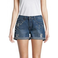 BUFFALO David Bitton - Faux Pearl-Embellished Denim Shorts Women's Shorts Online Discount VcS6E2td5S4zTV