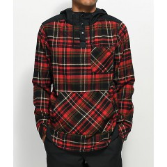 Empyre Cal Red & Black Henley Hooded Flannel Shirt Men's Button Ups Shirt Online Wholesale jiAHxlhgj4yhm6