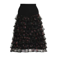 PREEN by THORNTON BREGAZZI Ruffled floral-print tulle and crepe skirt Women's Skirts Fashion Online dIZYMpPltsm8HP