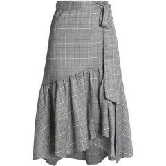 RAOUL Ruffled Prince of Wales wrap skirt Women's Skirts Discount Wholesale 0FVdxreMvNf7Bz