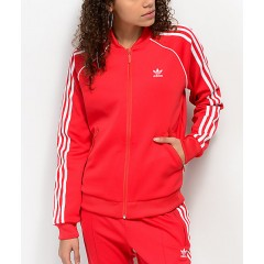 adidas 3 Stripe Red Track Jacket Women's Light Jackets Ab6vn9Vn2lTenk