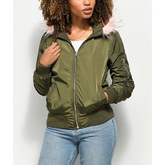 Angel Kiss Nika Olive Fur Hooded Bomber Jacket Women's Light Jackets Online Discount 5lBZLTzMYGWmXb