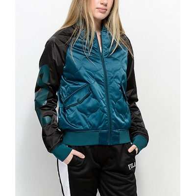 FILA Petra Black & Green Quilted Bomber Jacket Women's Light Jackets y5btmITbid8Mi7