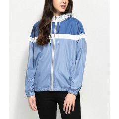 Zine Britta Blue & White Lined Windbreaker Jacket Women's Light Jackets xYHiEnBMLJdXML