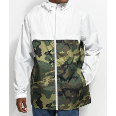 Empyre Jet Camo & White Hooded Windbreaker Jacket Men's Light Jackets DoUcTbVjyj1fmS