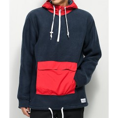 Empyre Sport Navy & Red Anorak Fleece Jacket Men's Light Jackets RrVlOmy6YjJnP0