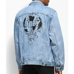 Obey Vicious Light Blue Denim Jacket Men's Light Jackets Discount Wholesale ha6cESAkh45mbZ