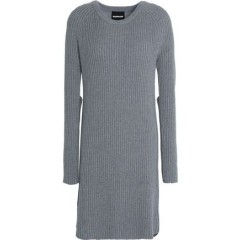 MONROW Cutout ribbed wool and cotton-blend mini dress New Arrival Women's Casual Dresses Cheap Sales ulQrqpa32oI47F